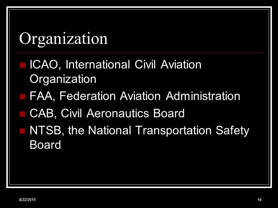 4/22/201514 Organization ICAO, International Civil Aviation Organization FAA, Federation Aviation Administration CAB, Civil Aeronautics Board NTSB, th