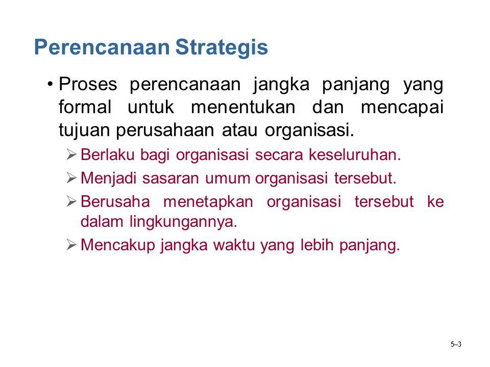 5–3 Perencanaan Strategis Proses perencanaan jangka panjang yang formal untuk menentukan dan mencapai tujuan perusahaan atau organisasi.  Berlaku bag