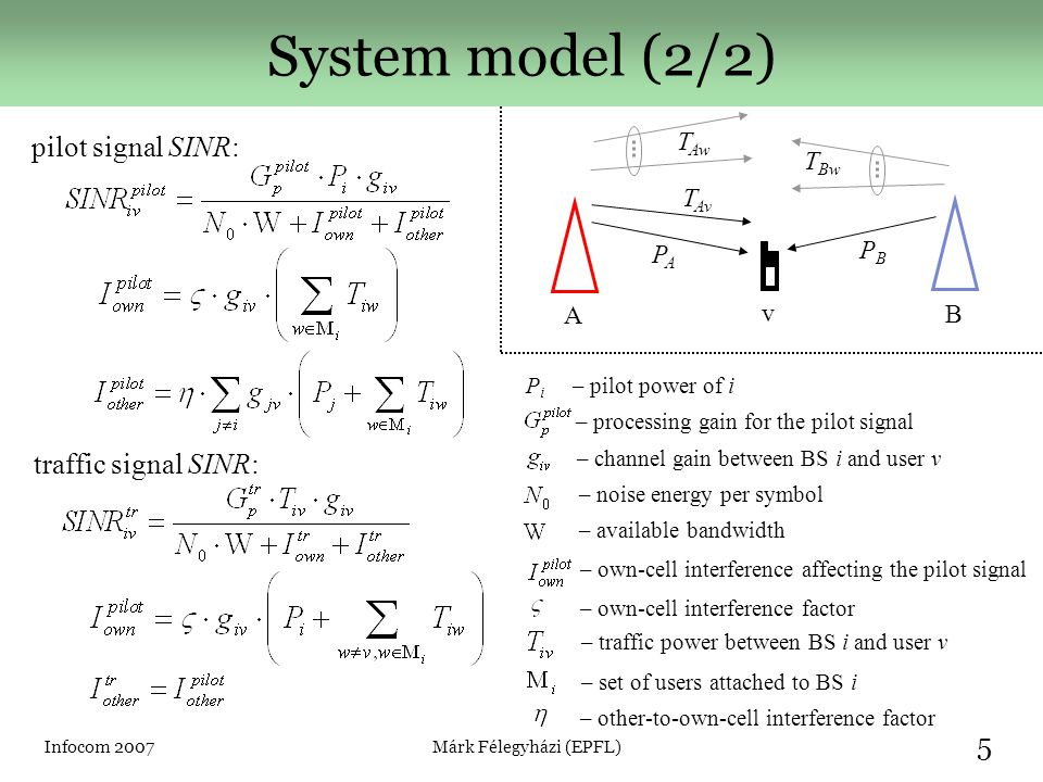 Infocom 2007Márk Félegyházi (EPFL) 6 Game-theoretic model ► Power Control Game, G PC – players → networks operators (BSs), A and B – strategy → pilot signal power, 0W < P i < 10W, i = {A, B} – standard power, P S = 2W – payoff → profit, where is the expected income serving user v – normalized payoff difference: