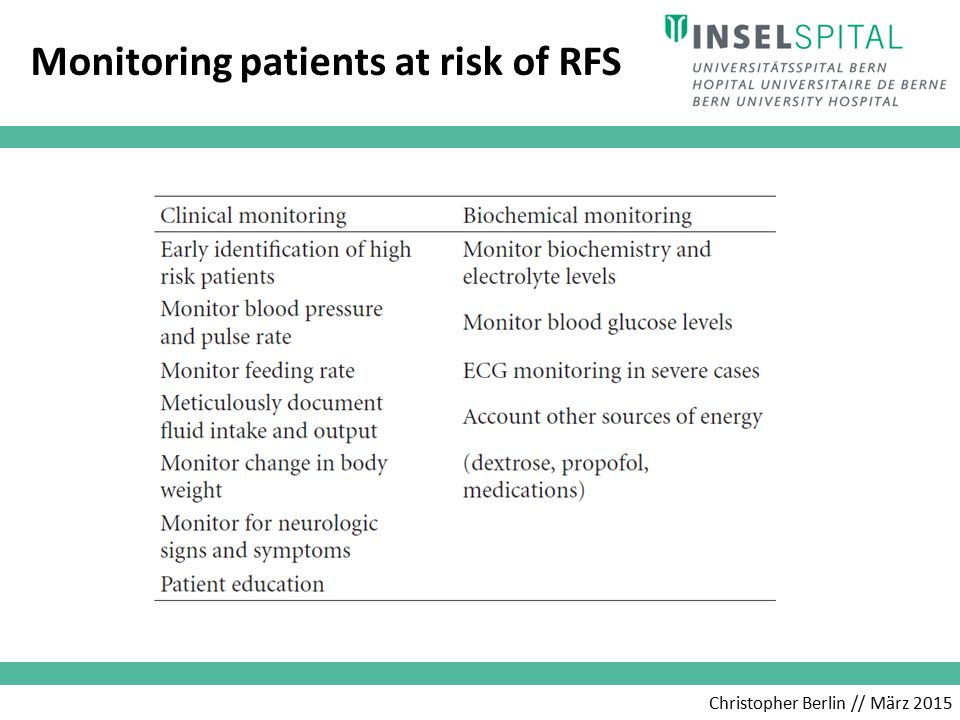 Christopher Berlin // März 2015 Refeeding regime at risk for RFS patient at risk prevention > treatment