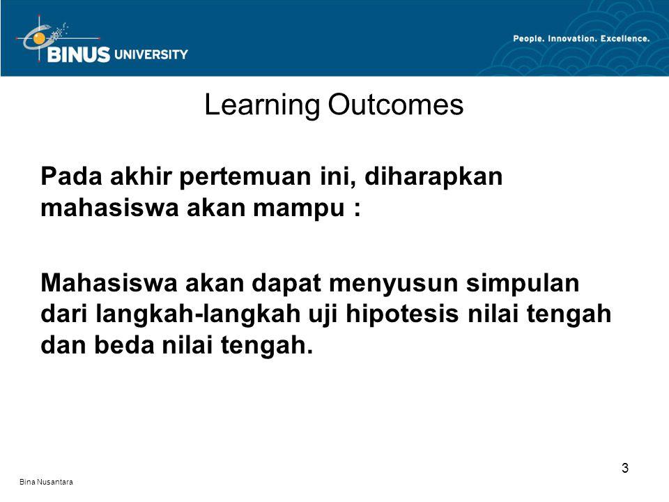 Bina Nusantara Learning Outcomes 3 Pada akhir pertemuan ini, diharapkan mahasiswa akan mampu : Mahasiswa akan dapat menyusun simpulan dari langkah-langkah uji hipotesis nilai tengah dan beda nilai tengah.