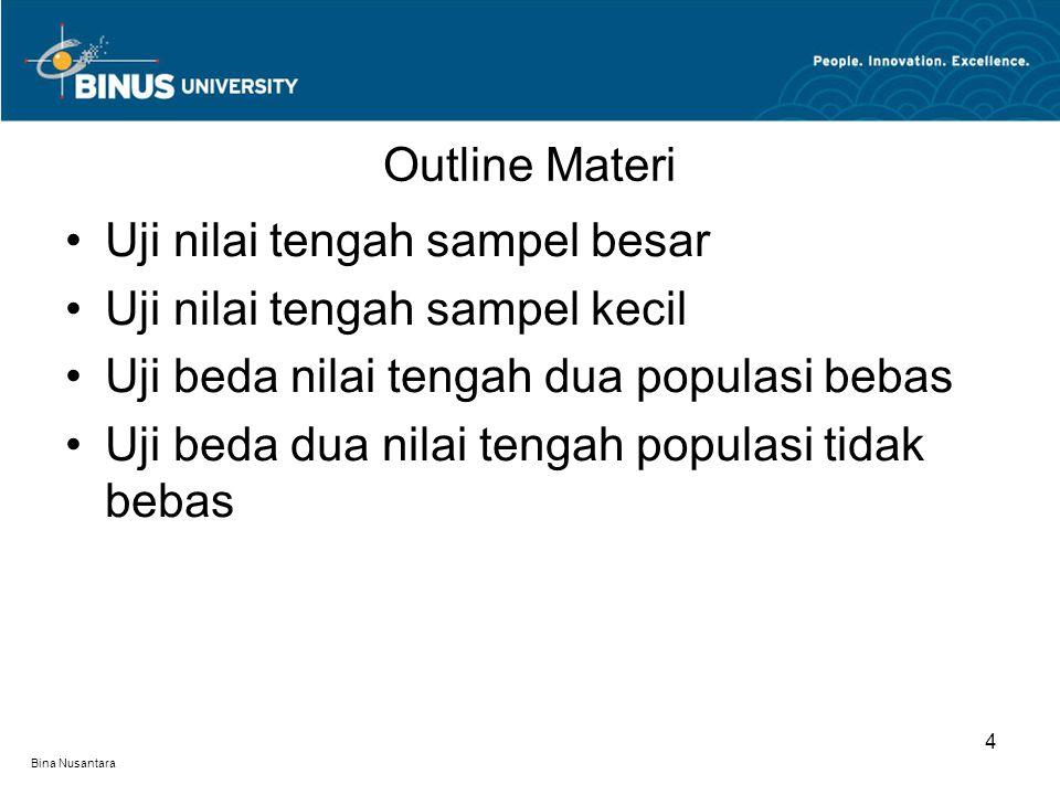 Bina Nusantara Outline Materi 4 Uji nilai tengah sampel besar Uji nilai tengah sampel kecil Uji beda nilai tengah dua populasi bebas Uji beda dua nilai tengah populasi tidak bebas