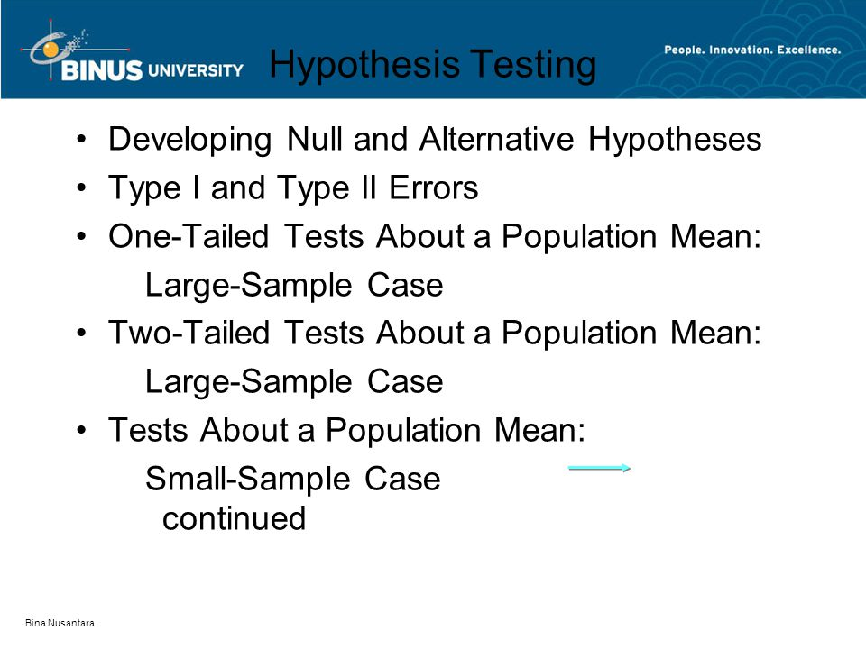 Bina Nusantara Hypothesis Testing Developing Null and Alternative Hypotheses Type I and Type II Errors One-Tailed Tests About a Population Mean: Large-Sample Case Two-Tailed Tests About a Population Mean: Large-Sample Case Tests About a Population Mean: Small-Sample Case continued
