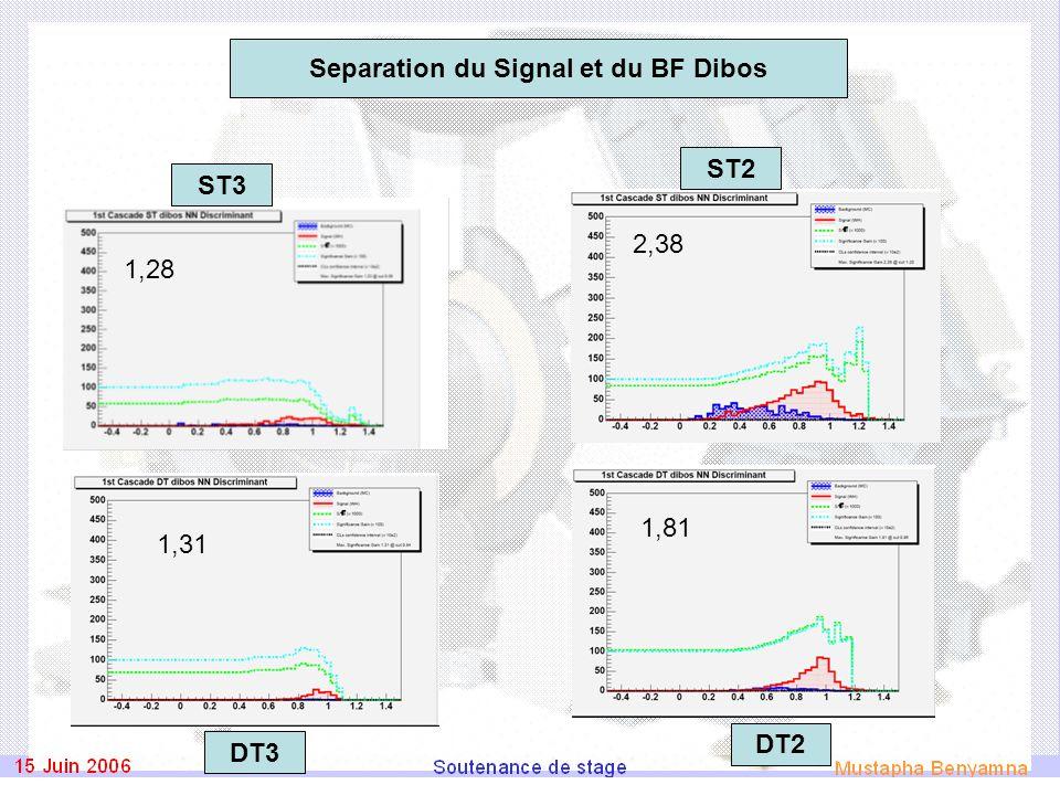 1,31 1,81 1,28 2,38 DT2 ST3 ST2 DT3 Separation du Signal et du BF Dibos