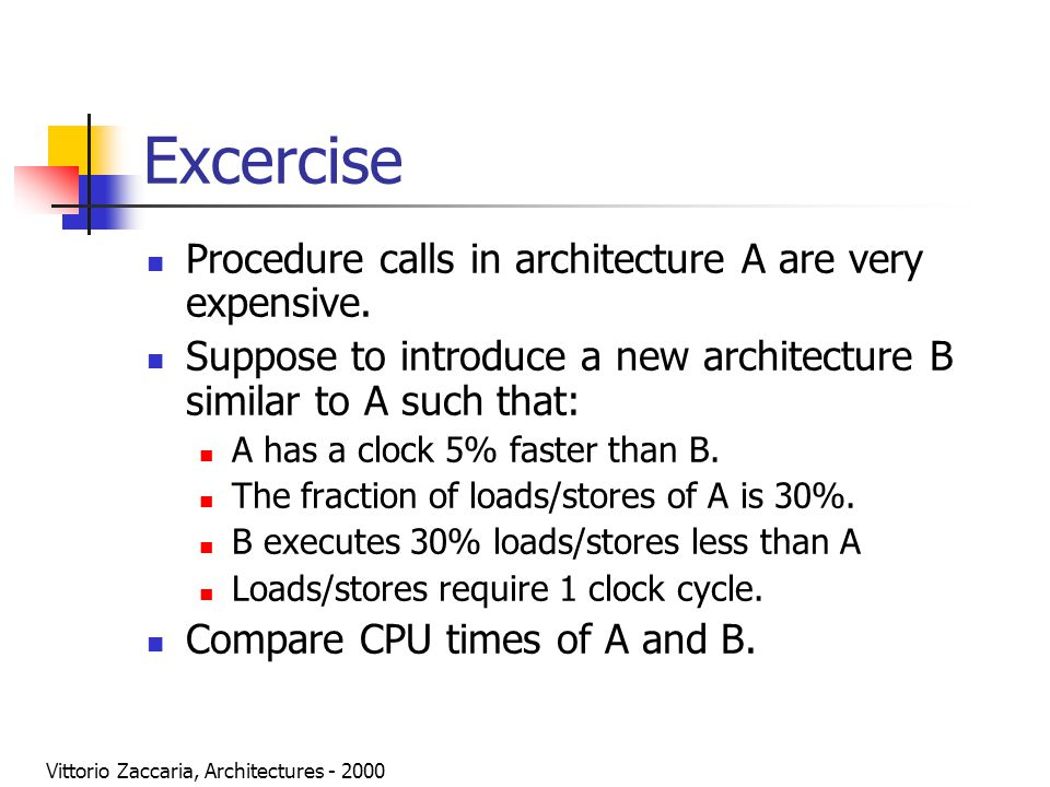 Vittorio Zaccaria, Architectures - 2000 Excercise Procedure calls in architecture A are very expensive. Suppose to introduce a new architecture B simi
