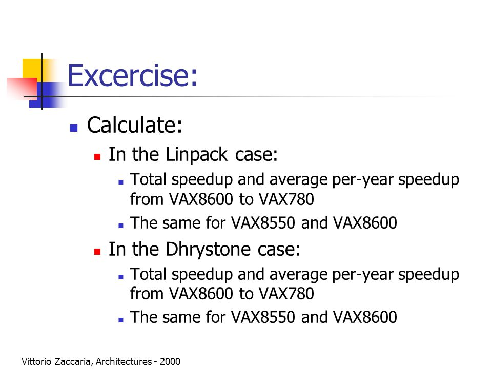 Vittorio Zaccaria, Architectures - 2000 Excercise: Calculate: In the Linpack case: Total speedup and average per-year speedup from VAX8600 to VAX780 T