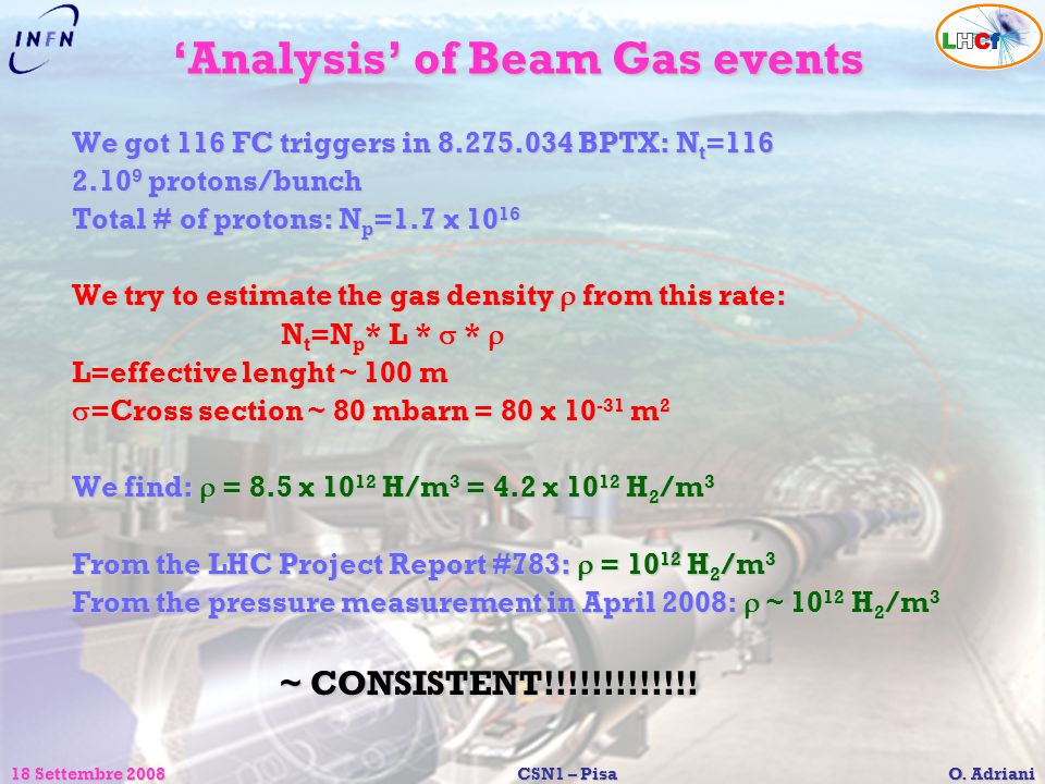 18 Settembre 2008CSN1 – Pisa O. Adriani 'Analysis' of Beam Gas events We got 116 FC triggers in 8.275.034 BPTX: N t =116 2.10 9 protons/bunch Total #