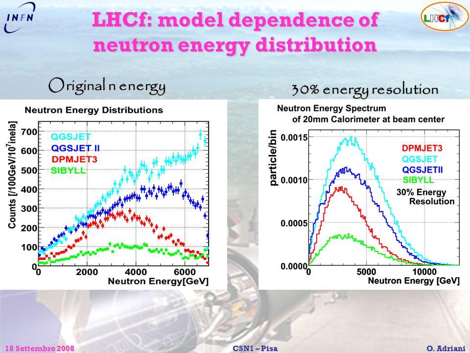 18 Settembre 2008CSN1 – Pisa O. Adriani LHCf: model dependence of neutron energy distribution Original n energy 30% energy resolution