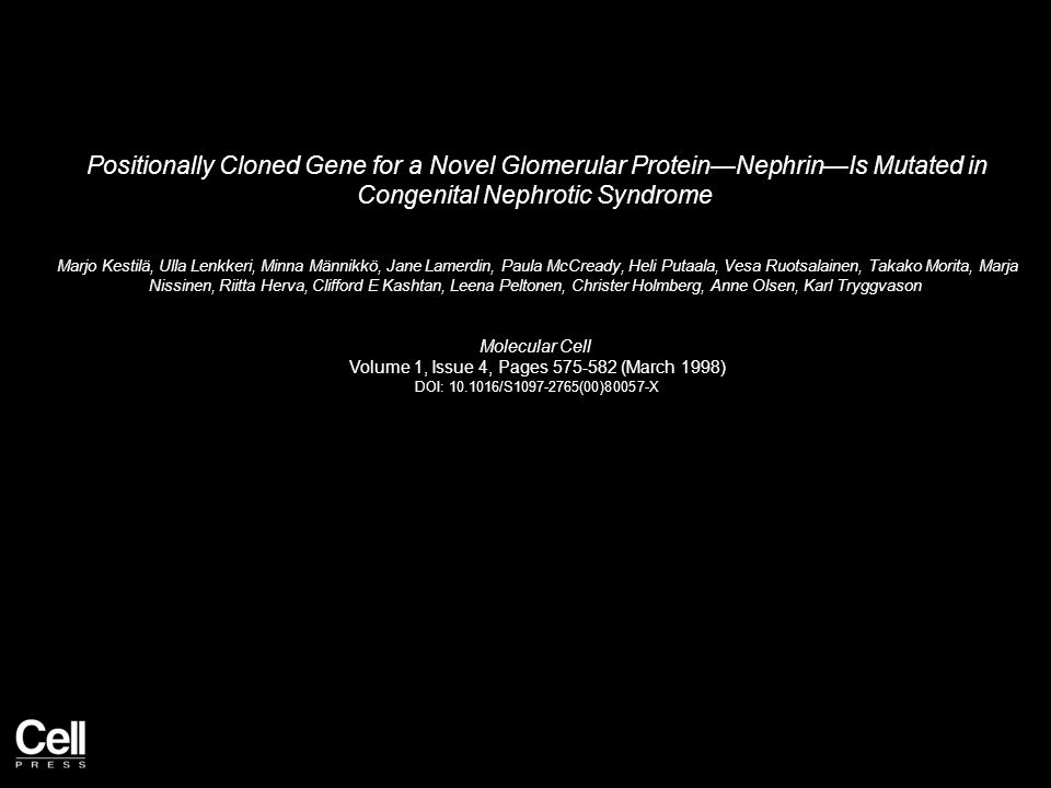 Positionally Cloned Gene for a Novel Glomerular Protein—Nephrin—Is Mutated in Congenital Nephrotic Syndrome Marjo Kestilä, Ulla Lenkkeri, Minna Männikkö, Jane Lamerdin, Paula McCready, Heli Putaala, Vesa Ruotsalainen, Takako Morita, Marja Nissinen, Riitta Herva, Clifford E Kashtan, Leena Peltonen, Christer Holmberg, Anne Olsen, Karl Tryggvason Molecular Cell Volume 1, Issue 4, Pages 575-582 (March 1998) DOI: 10.1016/S1097-2765(00)80057-X
