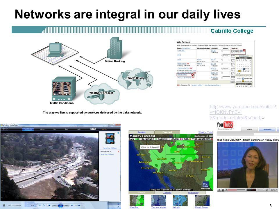 Rick Graziani graziani@cabrillo.edu8 Networks are integral in our daily lives http://www.youtube.com/watch.