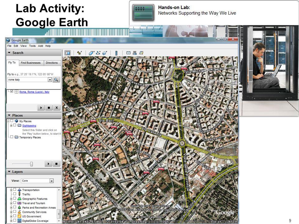 Rick Graziani graziani@cabrillo.edu9 Lab Activity: Google Earth