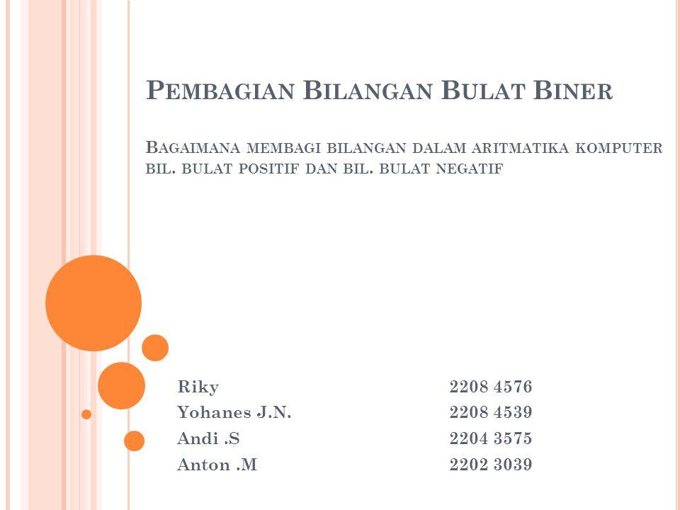 P EMBAGIAN B ILANGAN B ULAT B INER B AGAIMANA MEMBAGI BILANGAN DALAM ARITMATIKA KOMPUTER BIL.