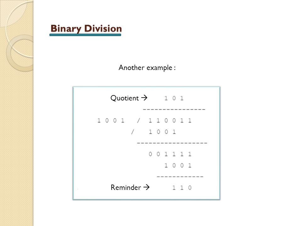 Binary Division Another example : Quotient  Reminder 