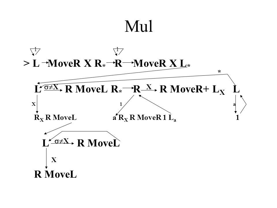 Mul 1 > L MoveR X R * R MoveR X L * * L  X R MoveL R * R X R MoveR+ L X L X 1 a R X R MoveL a R X R MoveR 1 L a 1 L  X R MoveL X R MoveL