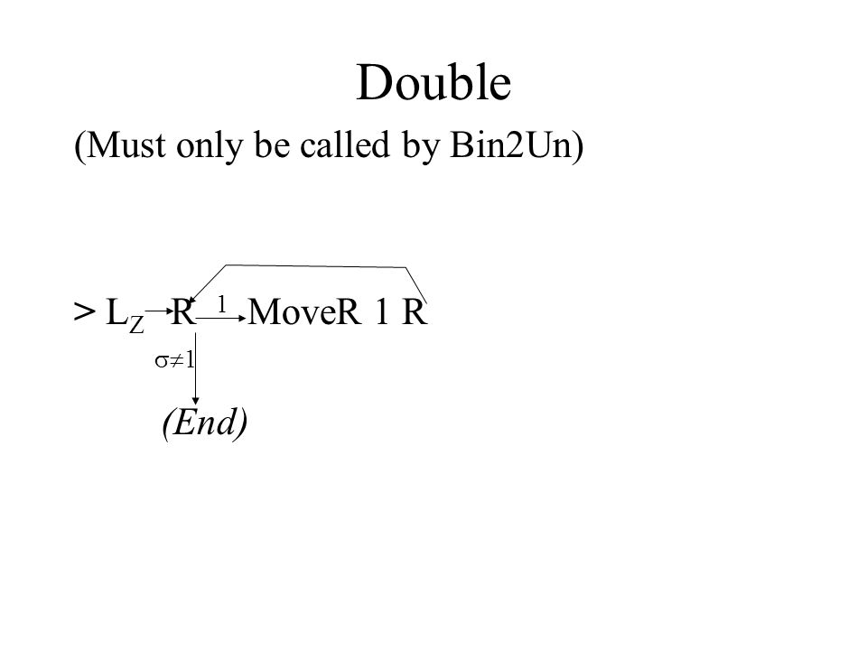 Double (Must only be called by Bin2Un) > L Z R 1 MoveR 1 R  1 (End)
