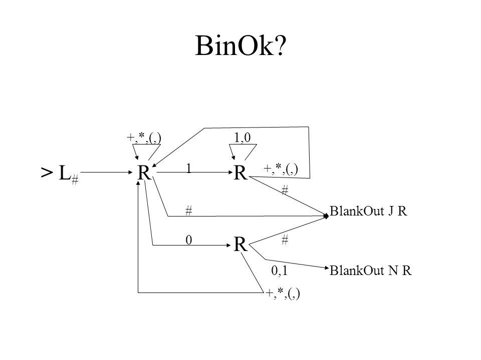MoveL 0 La 1 Lb > LR + Lc R R  # L  R * Ld# ( Le ) LfL # a 0 b 1 0,1,+,*,(,) L c + d * e ( f )