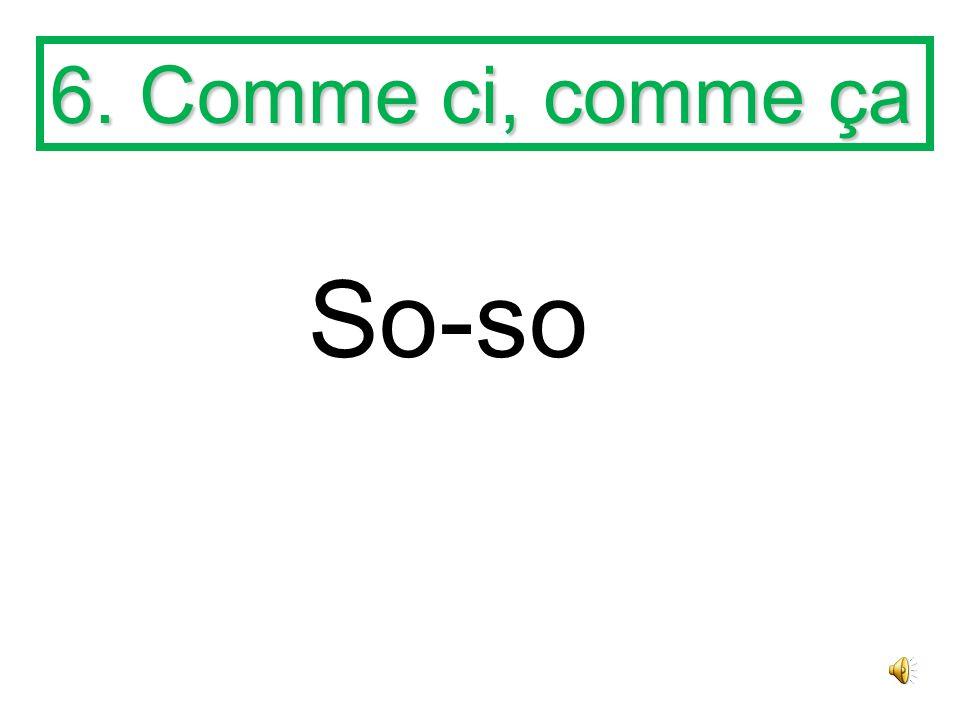 5. Comment allez-vous? How are you? comment = how allez = go vous = you (polite, plural)