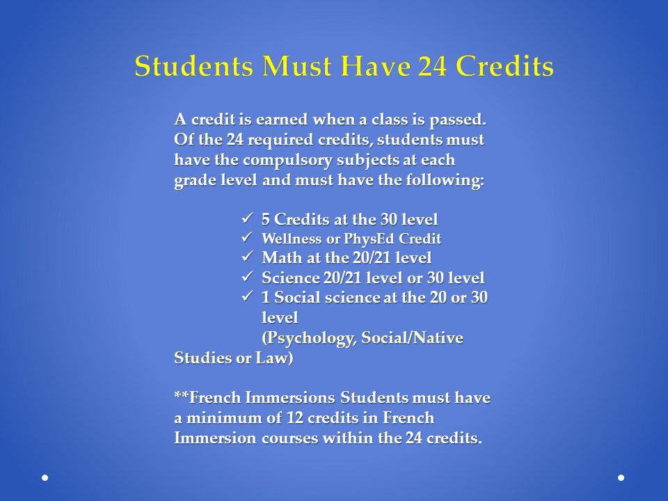 Grade 10- Minimum of 10 classes Grade 11- Minimum of 8 classes Grade 12- Completion of credit requirements KEY: Working towards post-secondary institution requirements