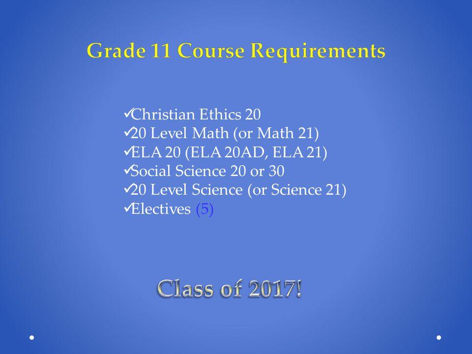 Éd Chrétienne 20 Mathématiques 20 (Fondements and/or Pré-Calcul 20) Français 20 ELA 20 (or ELA 20 AD) Social Science 20 or 30 20 Level Science Electives (4) (Histoire)