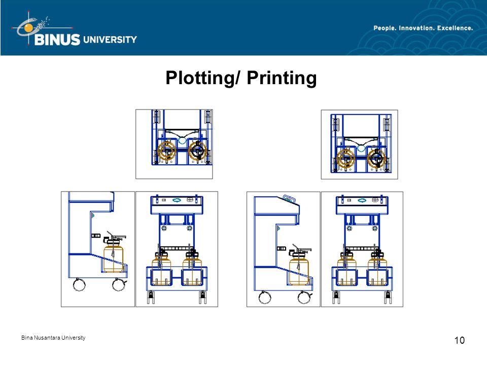 Bina Nusantara University 10 Plotting/ Printing