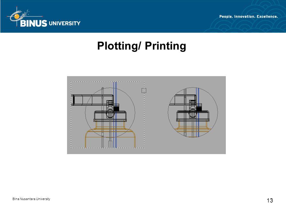 Bina Nusantara University 13 Plotting/ Printing