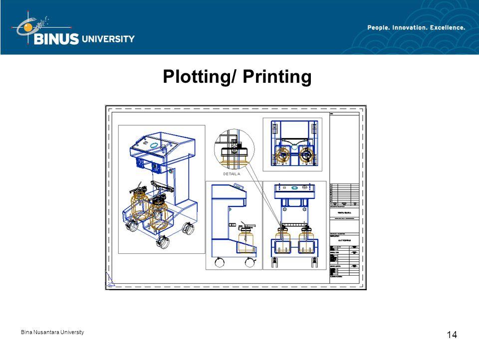 Bina Nusantara University 14 Plotting/ Printing
