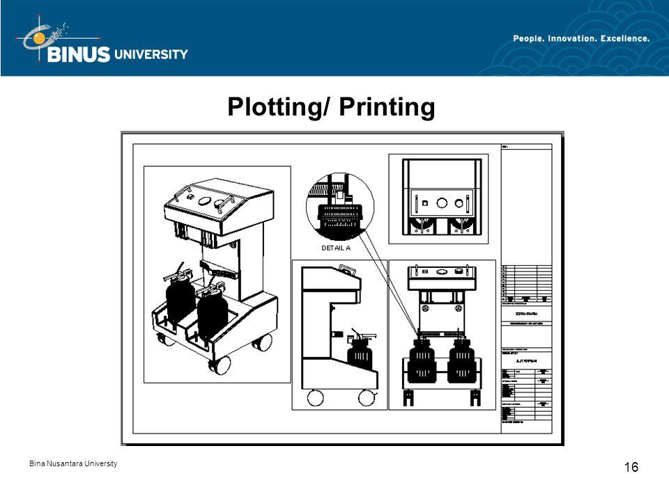 Bina Nusantara University 16 Plotting/ Printing
