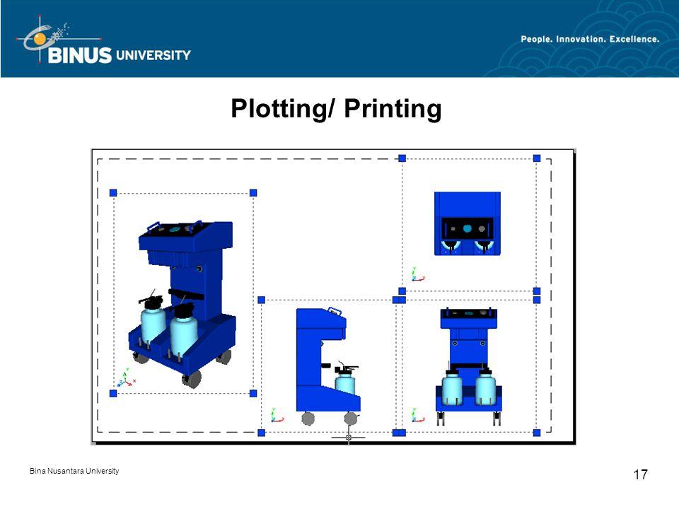 Bina Nusantara University 17 Plotting/ Printing