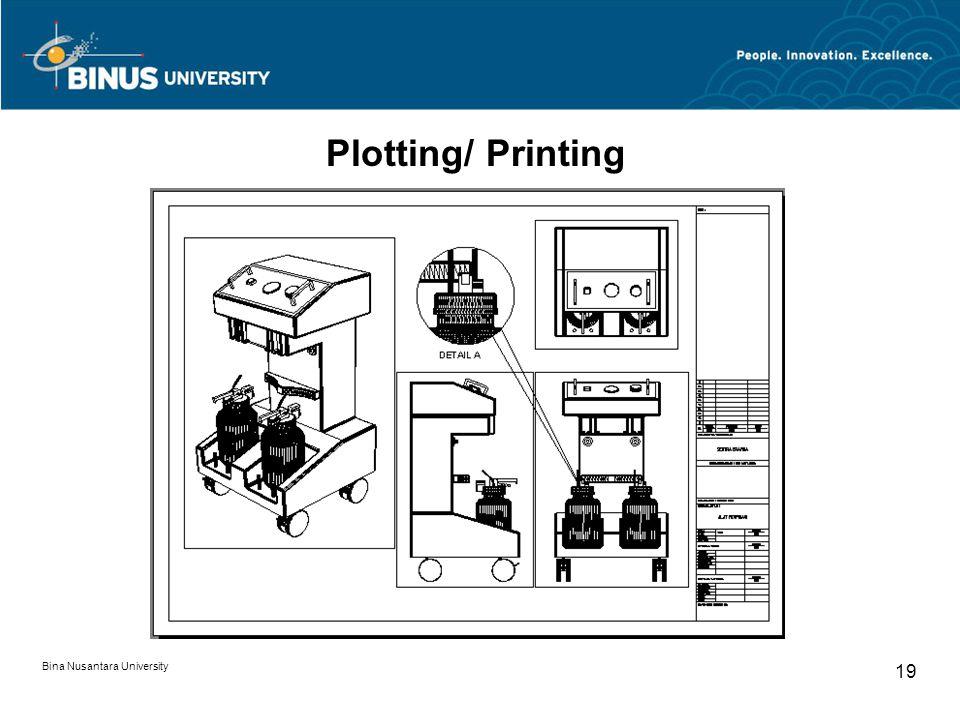 Bina Nusantara University 19 Plotting/ Printing