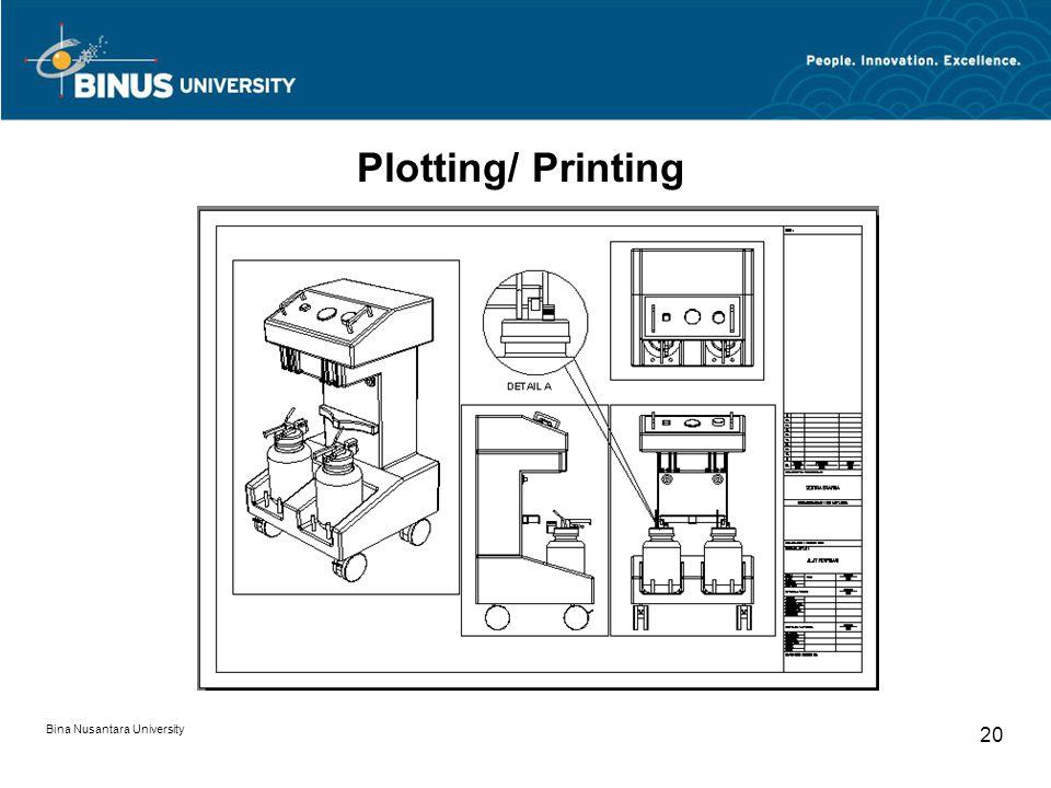 Bina Nusantara University 20 Plotting/ Printing