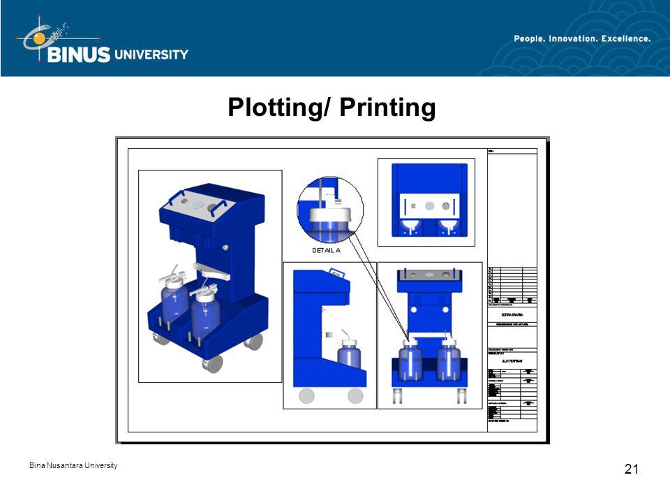 Bina Nusantara University 21 Plotting/ Printing