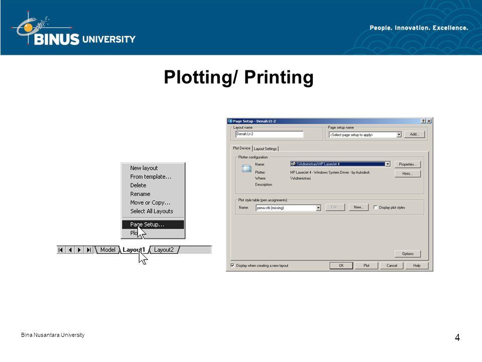 Bina Nusantara University 4 Plotting/ Printing