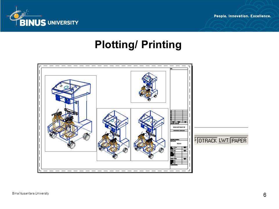 Bina Nusantara University 6 Plotting/ Printing