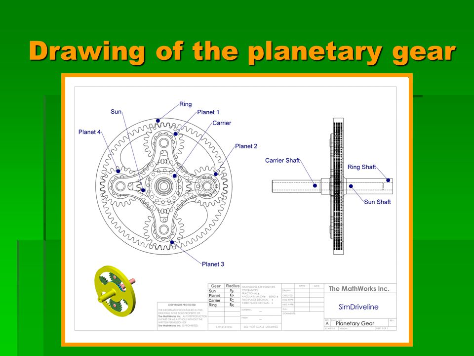 Drawing of the planetary gear