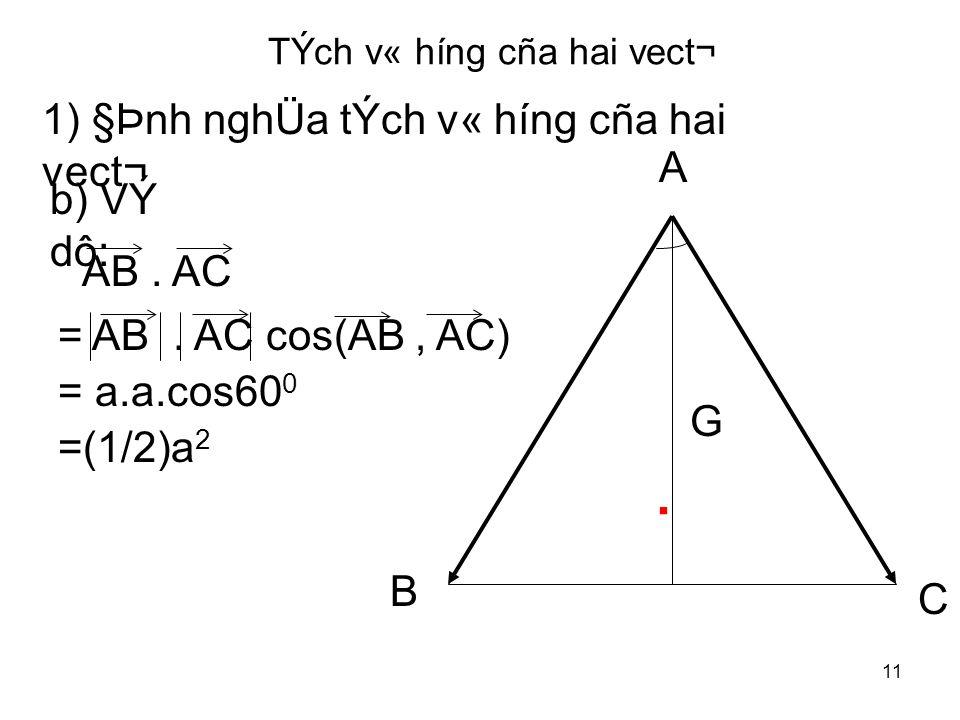 11 TÝch v« híng cña hai vect¬ 1) §Þnh nghÜa tÝch v« híng cña hai vect¬ b) VÝ dô: A.