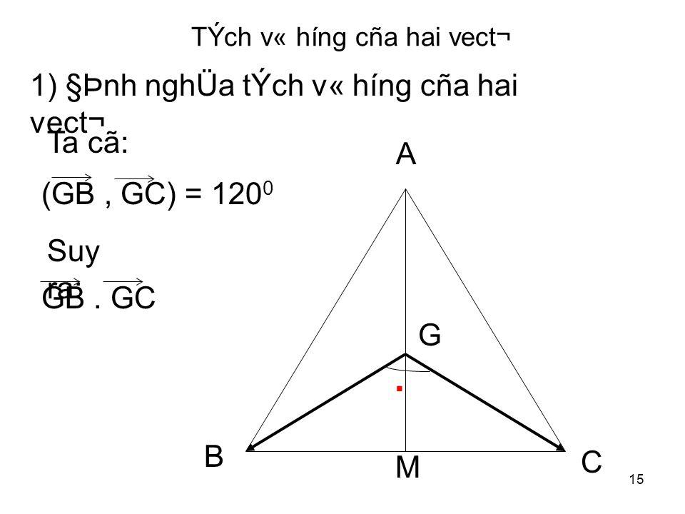 15 TÝch v« híng cña hai vect¬ 1) §Þnh nghÜa tÝch v« híng cña hai vect¬ G A B C.