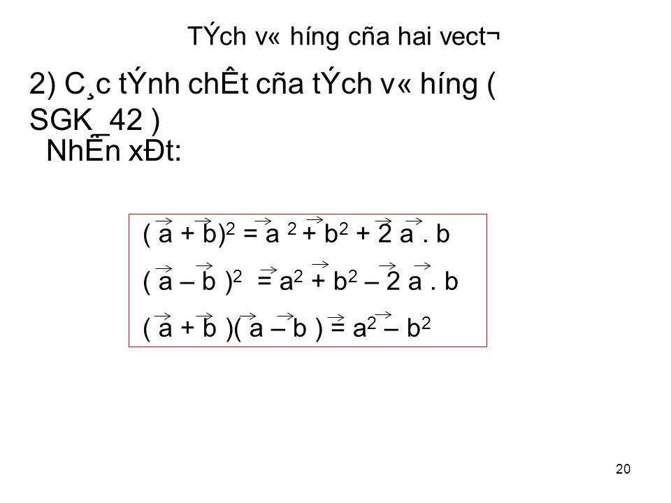 20 TÝch v« híng cña hai vect¬ 2) C¸c tÝnh chÊt cña tÝch v« híng ( SGK_42 ) ( a + b) 2 = a 2 + b 2 + 2 a.