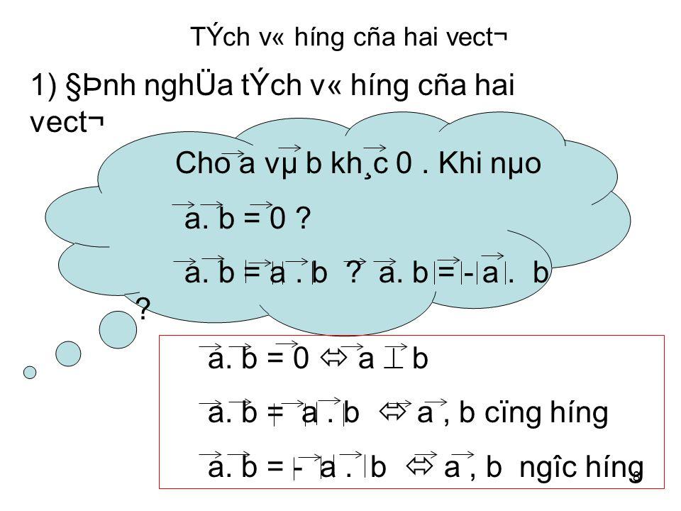 8 TÝch v« híng cña hai vect¬ 1) §Þnh nghÜa tÝch v« híng cña hai vect¬ Cho a vµ b kh¸c 0.