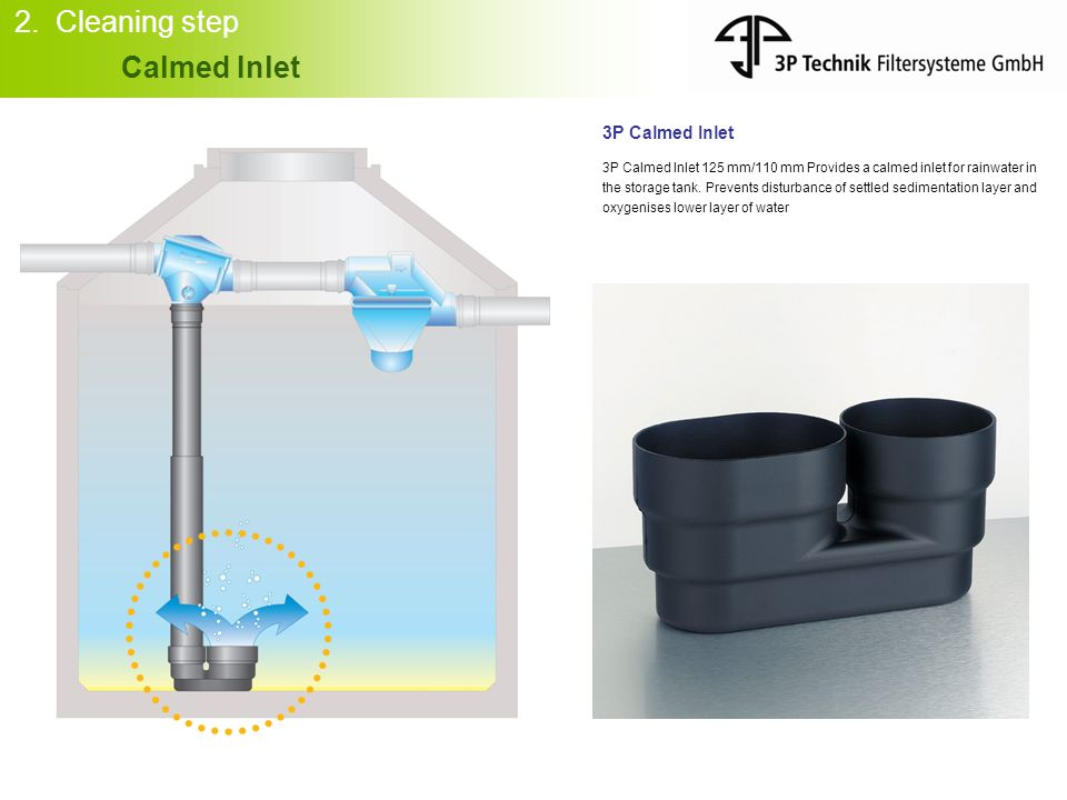 2. Cleaning step Calmed Inlet 3P Calmed Inlet 3P Calmed Inlet 125 mm/110 mm Provides a calmed inlet for rainwater in the storage tank. Prevents distur