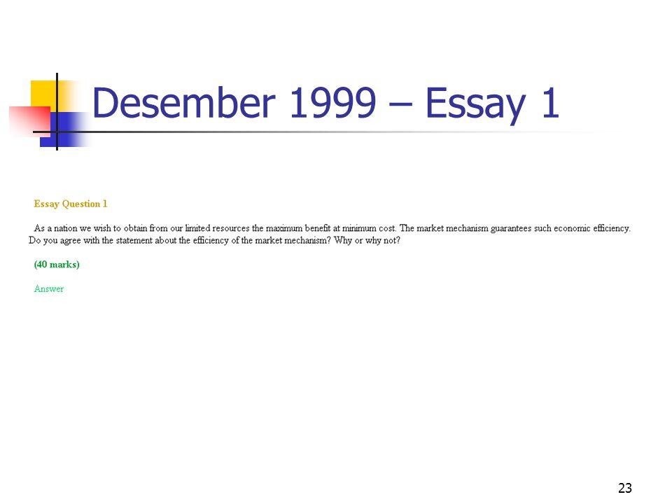23 Desember 1999 – Essay 1