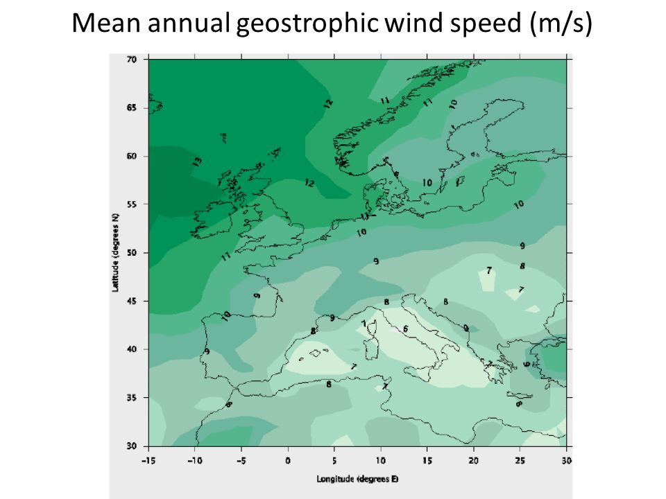 Mean annual geostrophic wind speed (m/s)