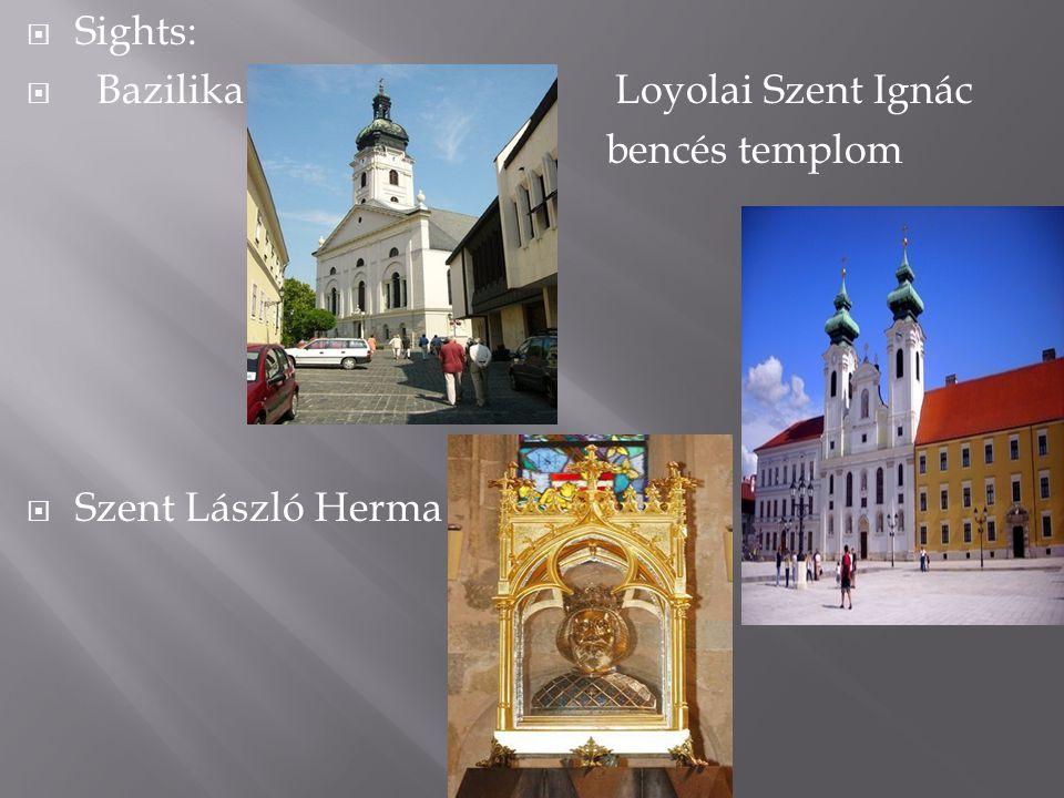  Sights:  Bazilika Loyolai Szent Ignác bencés templom  Szent László Herma