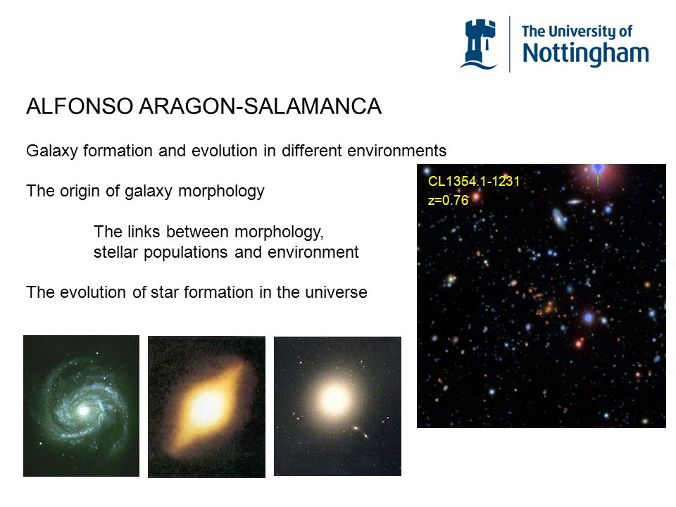 ALFONSO ARAGON-SALAMANCA Galaxy formation and evolution in different environments The origin of galaxy morphology The links between morphology, stella