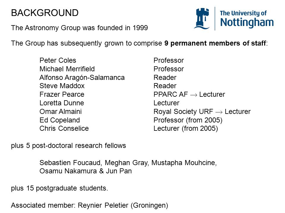 BACKGROUND The Astronomy Group was founded in 1999 The Group has subsequently grown to comprise 9 permanent members of staff: Peter ColesProfessor Mic