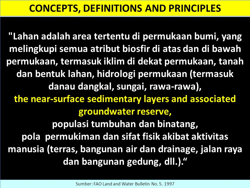 CONCEPTS, DEFINITIONS AND PRINCIPLES
