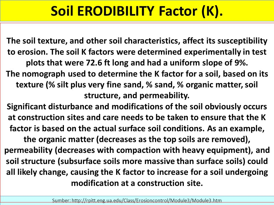 Sumber: http://rpitt.eng.ua.edu/Class/Erosioncontrol/Module3/Module3.htm The soil texture, and other soil characteristics, affect its susceptibility to erosion.