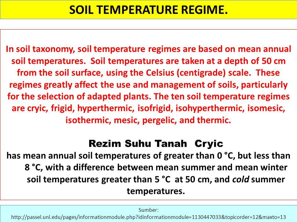 SOIL TEMPERATURE REGIME.