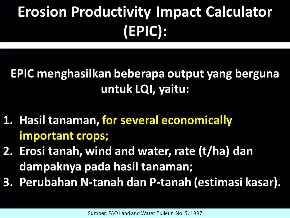 Erosion Productivity Impact Calculator (EPIC): EPIC menghasilkan beberapa output yang berguna untuk LQI, yaitu: 1.Hasil tanaman, for several economically important crops; 2.Erosi tanah, wind and water, rate (t/ha) dan dampaknya pada hasil tanaman; 3.Perubahan N-tanah dan P-tanah (estimasi kasar).