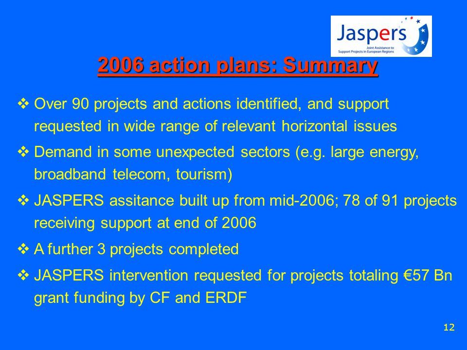 12 2006 action plans: Summary  Over 90 projects and actions identified, and support requested in wide range of relevant horizontal issues  Demand in some unexpected sectors (e.g.