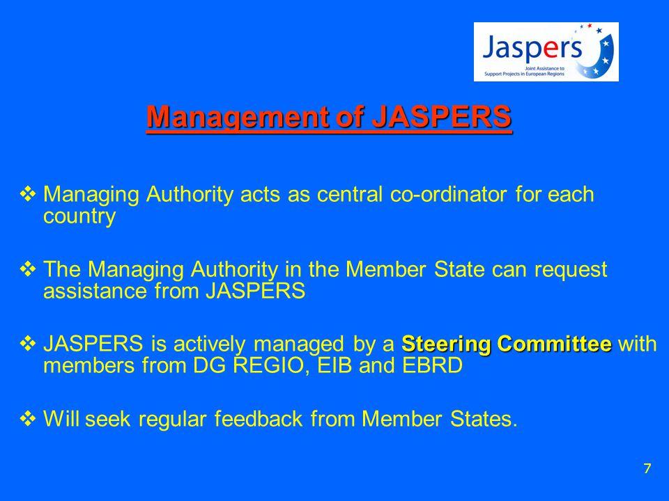 8 JASPERS 56 professional STAFF 32 professionals + 10 support + 10 support 16 professionals 5 to 8 professionals LUXEMBOURG WARSAWVIENNABUCHAREST